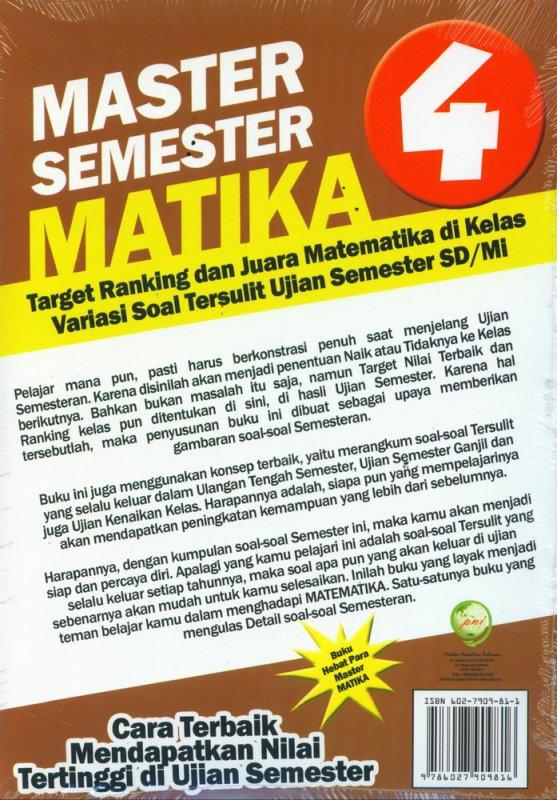 Cover Belakang Buku SD/Mi Kl 4 Master Semester Matika