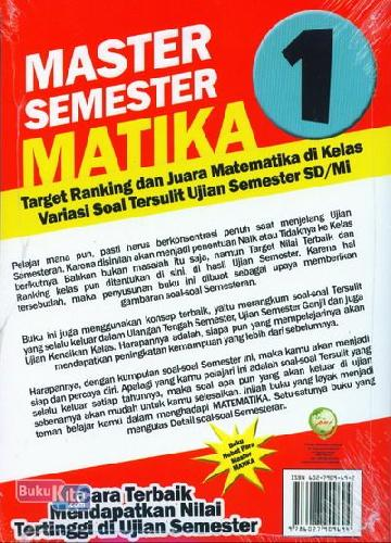 Cover Belakang Buku SD/Mi Kl 1 Master Semester Matika