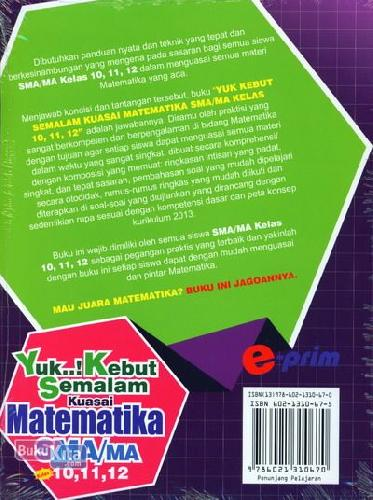 Cover Belakang Buku SMA/Ma Kl 10-12 Yuk..! Kebut Semalam Kuasai Matematika
