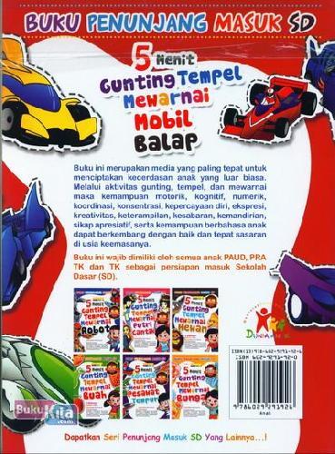 Cover Belakang Buku 5 Menit Gunting Tempel Mewarnai Mobil Balap (Buku Penunjang Masuk SD)
