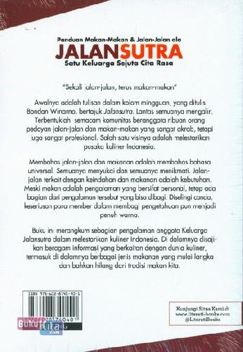 Cover Belakang Buku Panduan Makan-Makan & Jalan-Jalan ala JALANSUTRA Satu Keluarga Sejuta Cita Rasa