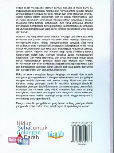 Cover Belakang Buku Hidup Sehat untuk Golongan Darah B