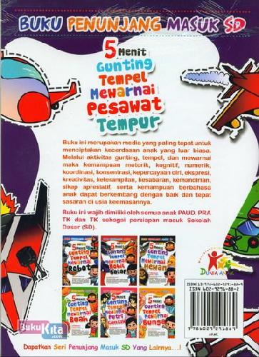 Cover Belakang Buku 5 Menit Gunting Tempel Mewarnai Pesawat Tempur (Full Color)