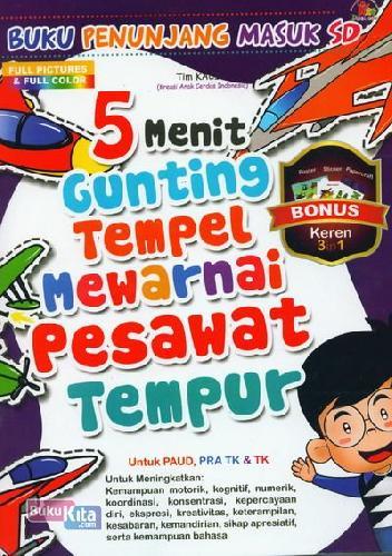 Cover Buku 5 Menit Gunting Tempel Mewarnai Pesawat Tempur (Full Color)