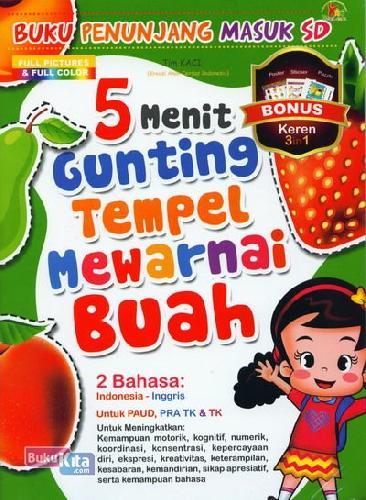 Cover Buku 5 Menit Gunting Tempel Mewarnai Buah (Full Color)