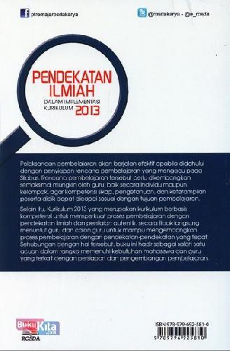 Cover Belakang Buku Pendekatan Ilmiah Dalam Implementasi Kurikulum 2013