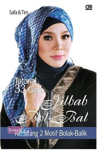Cover Buku Tutorial 33 Gaya Jilbab Bol-Bal, Kerudung 2 Motif Bolak-Balik