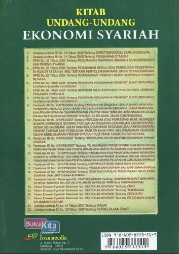 Cover Belakang Buku Kitab Undang-Undang Ekonomi Syariah