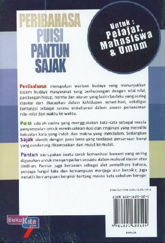 Cover Belakang Buku Peribahasa Puisi Pantun Sajak Edisi Terbaru