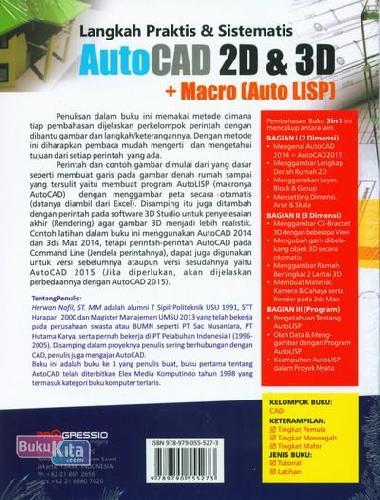 Cover Belakang Buku Langkah Praktis & Sistematis Autocad 2d & 3d + Macro