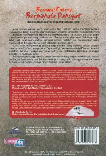 Cover Belakang Buku Beramal Enteng Berpahala Dahsyat : Cerdas Beribadah di Tengah Fluktuasi Iman