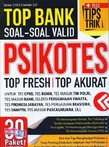 Cover Buku Top Bank Soal-Soal Valid Psikotes Top Fresh Top Akurat