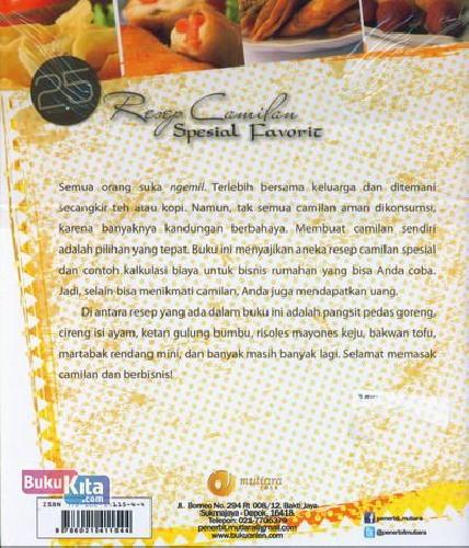 Cover Belakang Buku 25 Resep Camilan Spesial Favorit (Full Color)