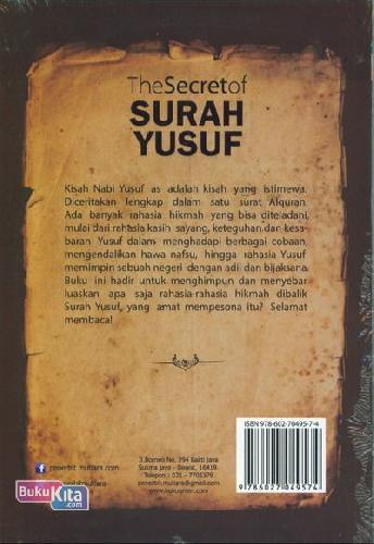 Cover Belakang Buku The Secret of Surah Yusuf : Mengungkap Rahasia Hikmah Dibalik Surah Yusuf
