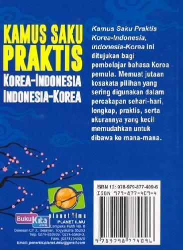 Cover Belakang Buku Kamus Saku Praktis Korea-indonesia, Indonesia-korea