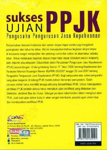 Cover Belakang Buku Sukses Ujian Ppjk (Pengusaha Pengurusan Jasa Kepabeanan)