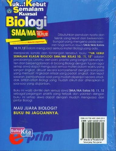 Cover Belakang Buku SMA/Ma Kl 10-12 Yuk..! Kebut Semalam Kuasai Biologi