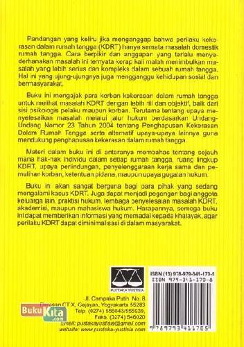 Cover Belakang Buku Penyelesaian Hukum KDRT ( Penghapusan Kekerasan dalam Rumah Tangga dan Upaya Pemulihannya )