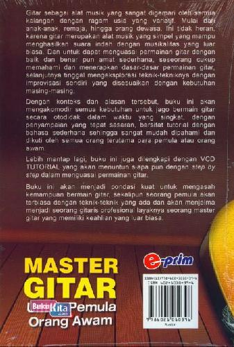 Cover Belakang Buku Master Gitar Untuk Pemula&Orang Awam+Vcd