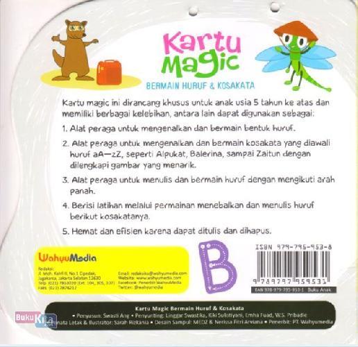 Cover Belakang Buku Kartu Magic Bermain Huruf & Kosakata