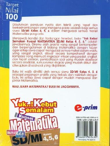 Cover Belakang Buku Yuk Kebut Semalam Kuasai Matematika SD/MI Kelas 4,5,6