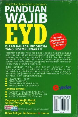 Cover Belakang Buku Panduan Wajib Eyd : Ejaan Bahasa Indonesia