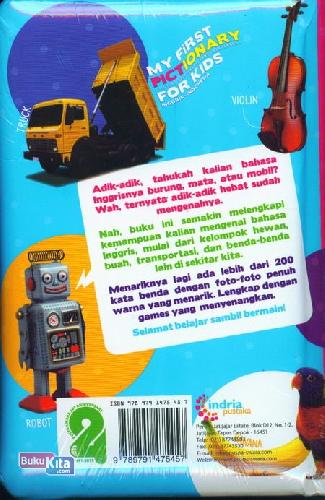 Cover Belakang Buku My First Pictionary For Kids : Inggris-Indonesia