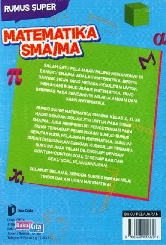 Cover Belakang Buku Sma/Ma Kl 10-12 Rumus Super Matematika Resep Manjur Lilus Ujian