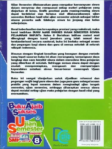 Cover Belakang Buku Smp/Mts Kl 8 Buku Ajaib Sukses Ujian Semester Semua Pelajaran