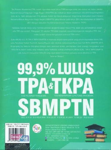 Cover Belakang Buku 99,9% Lulus Tpa&Tkpa Sbmptn
