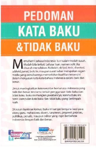Cover Belakang Buku Pedoman Kata Baku&Tidak Baku: Terbaru&Lebih Lengkap