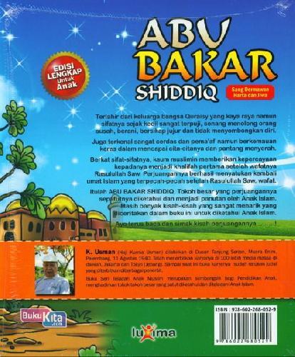 Cover Belakang Buku Teladan Anak Muslim : Abu Bakar Shiddiq - Sang Dermawan Harta dan Jiwa