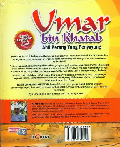 Cover Belakang Buku Teladan Anak Muslim : Umar bin Khatab - Ahli Perang Yang Penyayang