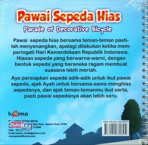 Cover Belakang Buku Seri Cerita Anak Usia Dini : Pawai Sepeda Hias - Parade of Decorative Bicyle