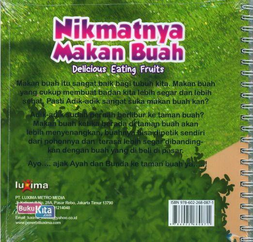 Cover Belakang Buku Seri Cerita Anak Usia Dini : Nikmatnya Makan Buah - Delicious Eating Fruits