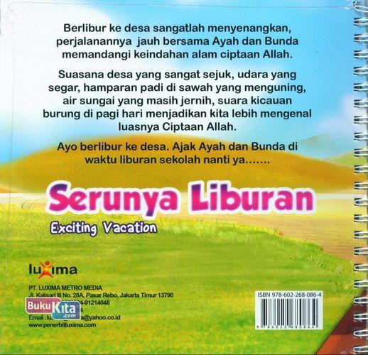 Cover Belakang Buku Seri Cerita Anak Usia Dini : Serunya Liburan - Exciting Vacation