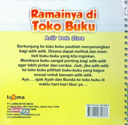 Cover Belakang Buku Seri Cerita Anak Usia Dini : Ramainya di Toko Buku - Astir Book Store
