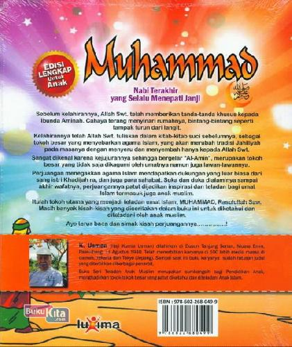 Cover Belakang Buku Teladan Anak Muslim : Muhammad Nabi Terakhir yang Selalu Menepati Janji