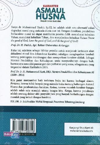 Cover Belakang Buku Karakter Asmaul Husna: Menjadi Cermin Kecil Allah