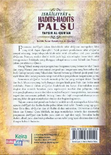 Cover Belakang Buku Israiliyyat & Hadits--hadits Palsu Tafsir Al Quran