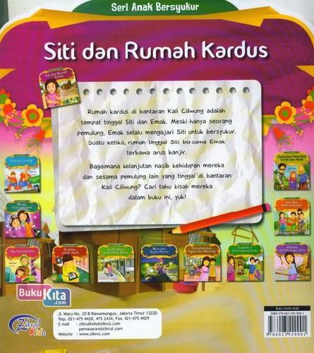 Cover Belakang Buku Siti Dan Rumah Kardus : Seri Anak Bersyukur
