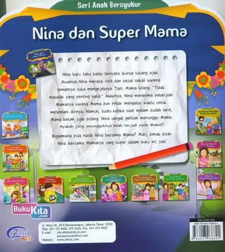 Cover Belakang Buku Nina Dan Super Mama : Seri Anak Bersyukur