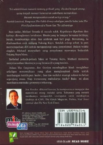 Cover Belakang Buku The Carpenter: Kisah Inspiratif Ttg Strategi Sukses...