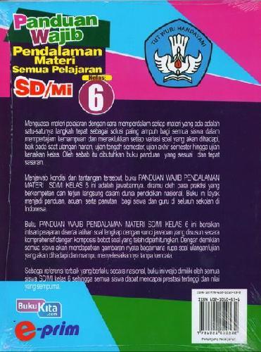 Cover Belakang Buku Panduan Wajib Pendalaman Materi Semua Pelajaran Sd/Mi Kl.6