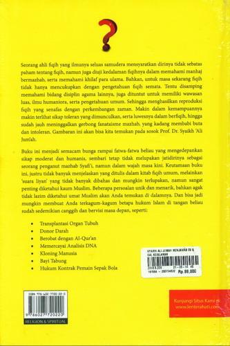 Cover Belakang Buku Syaikh Ali Jumah Menjawab 99 Soal Keislaman