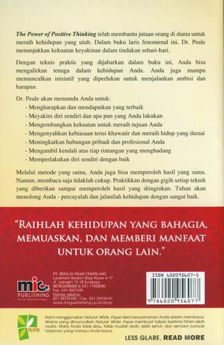 Cover Belakang Buku The Power Of Positive Thinking