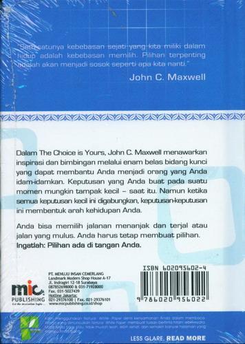 Cover Belakang Buku The Choice is Yours