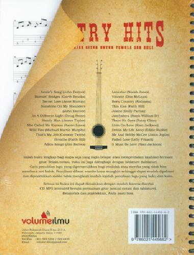Cover Belakang Buku Country Hits: Cara Cepat Belajar Gitar Untuk Pemula&Ahli+Cd