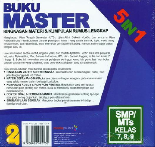 Cover Belakang Buku Smp/Mts Kl 7-9 Buku Master 5 In 1: Ringkasan Materi&Kumpulan Rumus Lengkap