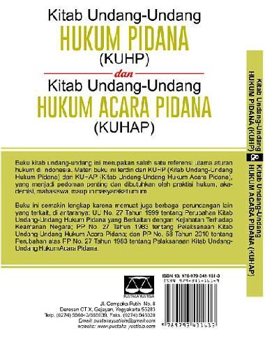 Cover Belakang Buku Kitab Undang=undang Hukum Pidana (KUHP) dan Kitab Undang-undang Hukum Acara Pidana